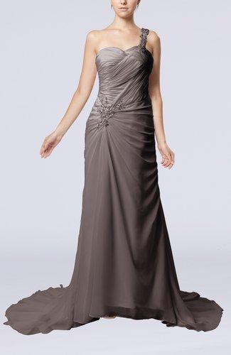 Elegant Church Sheath One Shoulder Chiffon Ruching Bridal Gowns