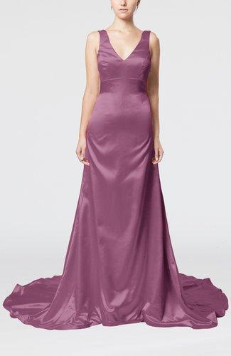Simple Column V-neck Sleeveless Zip up Court Train Evening Dresses