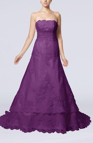 Disney Princess Garden Strapless Sleeveless Lace up Organza Court Train Bridal Gowns