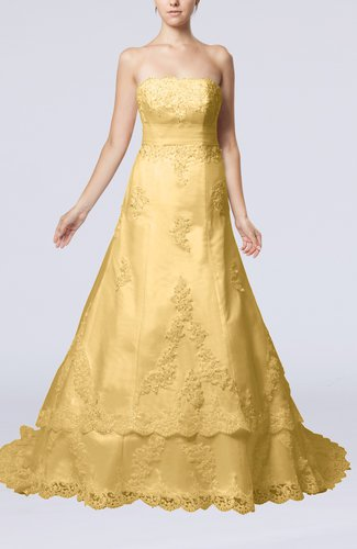 Disney Princess Garden Strapless Sleeveless Lace up Organza Court Train Bridal Gowns