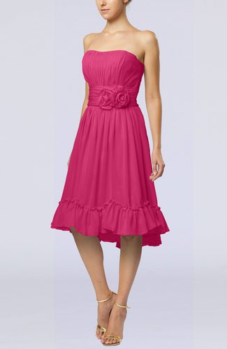 Romantic A-line Sweetheart Zip up Chiffon Knee Length Homecoming Dresses