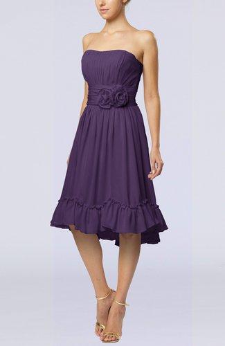 Romantic A-line Sweetheart Zip up Chiffon Knee Length Homecoming Dresses