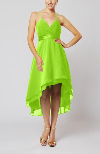 Modern A-line Sleeveless Zipper Chiffon Hi-Lo Party Dresses