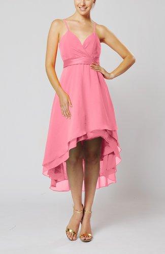 Modern A-line Sleeveless Zipper Chiffon Hi-Lo Party Dresses