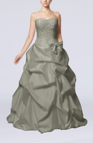 Fairytale Outdoor Strapless Sleeveless Zip up Taffeta Floor Length Bridal Gowns