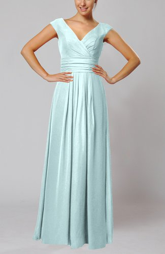 Simple V-neck Sleeveless Floor Length Ruching Evening Dresses