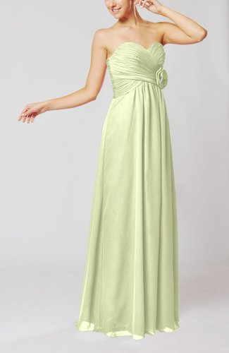 Simple Sheath Sweetheart Sleeveless Chiffon Floor Length Bridesmaid Dresses