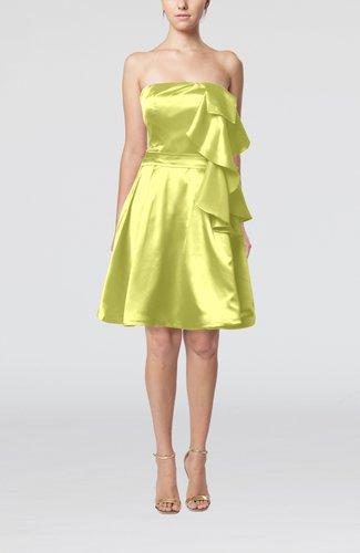 Plain Zip up Elastic Woven Satin Knee Length Ribbon Club Dresses