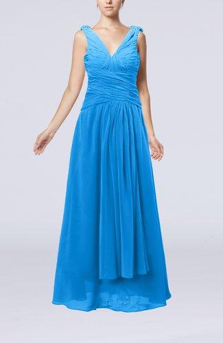 Modest Sheath V-neck Chiffon Floor Length Beaded Wedding Guest Dresses