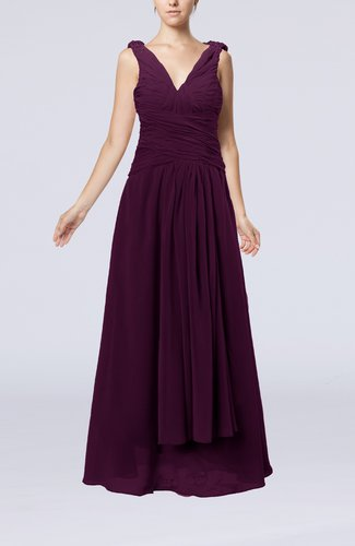 Modest Sheath V-neck Chiffon Floor Length Beaded Wedding Guest Dresses