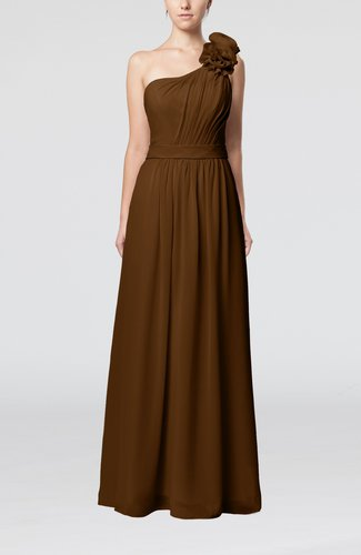 Plain One Shoulder Sleeveless Zipper Floor Length Sash Evening Dresses