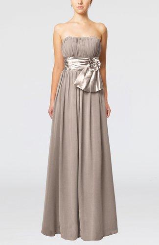 Plain Column Zipper Chiffon Floor Length Wedding Guest Dresses