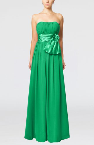Plain Column Zipper Chiffon Floor Length Wedding Guest Dresses