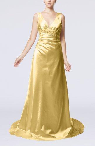 Elegant Garden Sheath Sleeveless Elastic Woven Satin Court Train Beaded Bridal Gowns
