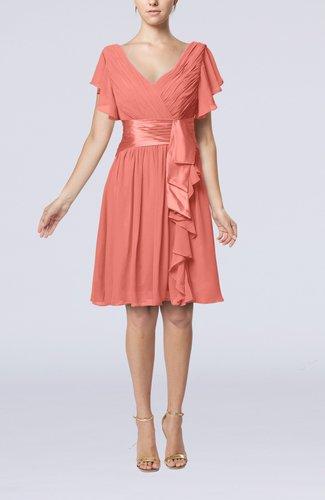 Romantic Short Sleeve Zip up Knee Length Sash Wedding Guest Dresses