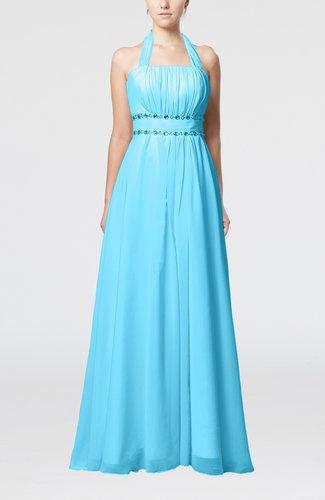 Elegant Destination Empire Halter Sleeveless Chiffon Floor Length Bridal Gowns
