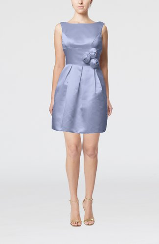 Plain Sleeveless Satin Short Flower Bridesmaid Dresses