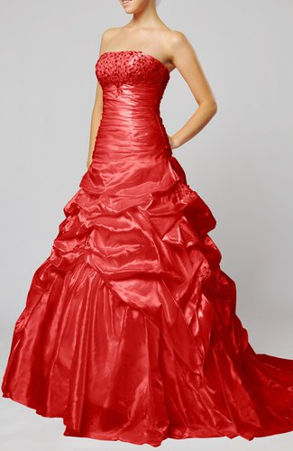 Classic Church Strapless Sleeveless Lace up Taffeta Chapel Train Bridal Gowns