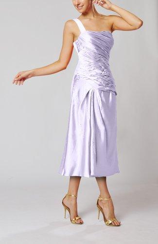 Elegant Column One Shoulder Sleeveless Tea Length Little Black Dresses