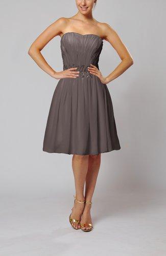 Cute Garden A-line Sleeveless Knee Length Paillette Bridal Gowns
