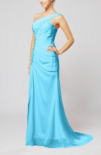 Elegant Column Zipper Chiffon Sweep Train Draped Evening Dresses