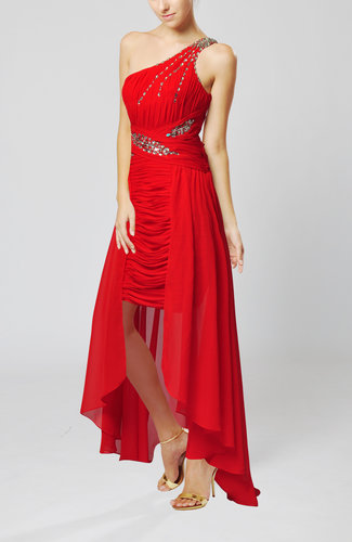 Sexy One Shoulder Sleeveless Floor Length Ruching Prom Dresses