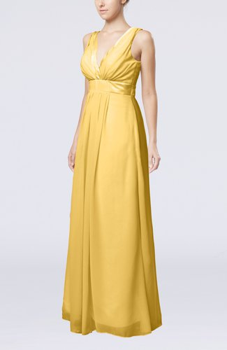Plain V-neck Zip up Chiffon Sash Bridesmaid Dresses