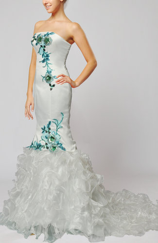 Elegant Hall Strapless Zip up Court Train Ruffles Bridal Gowns