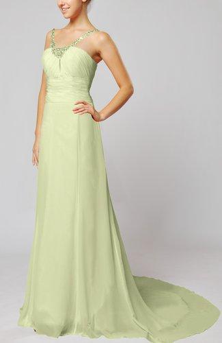 Elegant Outdoor Sheath Lace up Chiffon Court Train Bridal Gowns