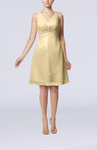 Mature A-line V-neck Knee Length Pleated Bridesmaid Dresses