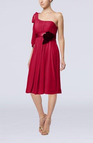 Plain One Shoulder Sleeveless Zipper Chiffon Flower Wedding Guest Dresses