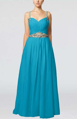 Glamorous Thick Straps Sleeveless Chiffon Floor Length Pleated Evening Dresses