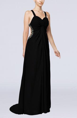 Sexy Thick Straps Sleeveless Backless Chiffon Evening Dresses