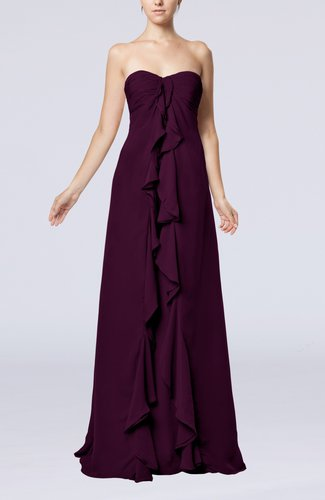 Simple Empire Sweetheart Zip up Chiffon Sweep Train Wedding Guest Dresses
