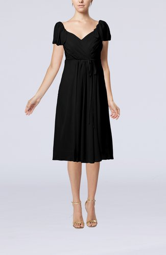 Plain Empire Queen Elizabeth Short Sleeve Chiffon Knee Length Party Dresses