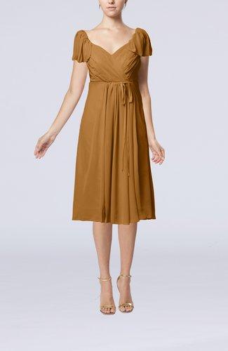 Plain Empire Queen Elizabeth Short Sleeve Chiffon Knee Length Party Dresses