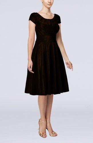 Simple A-line Scoop Short Sleeve Taffeta Knee Length Wedding Guest Dresses