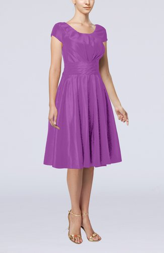 Simple A-line Scoop Short Sleeve Taffeta Knee Length Wedding Guest Dresses