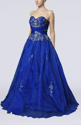 Cinderella A-line Sleeveless Organza Sweep Train Prom Dresses