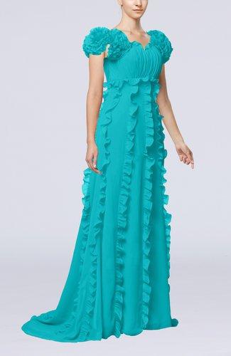 Elegant Empire Short Sleeve Zipper Chiffon Ruching Prom Dresses