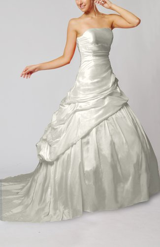 Plain Outdoor Lace up Taffeta Chapel Train Pick up Bridal Gowns