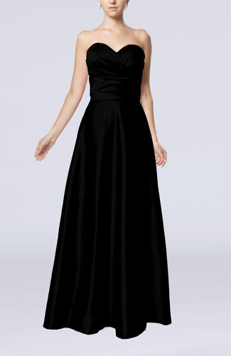 Simple A-line Sweetheart Elastic Woven Satin Floor Length Evening Dresses