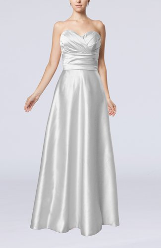 Simple A-line Sweetheart Elastic Woven Satin Floor Length Evening Dresses