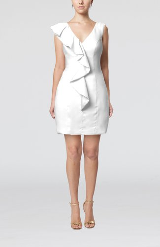 Plain Sheath V-neck Mini Ruffles Wedding Guest Dresses