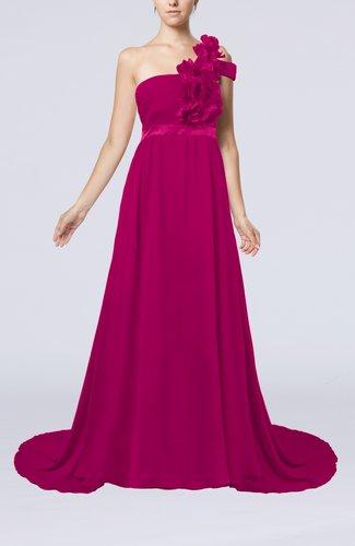 Romantic A-line One Shoulder Zipper Flower Evening Dresses