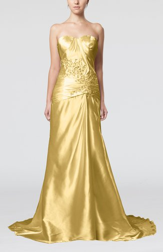 Elegant Church Sleeveless Elastic Woven Satin Court Train Ruching Bridal Gowns