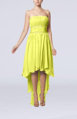 Plain A-line Strapless Sleeveless Zipper Chiffon Party Dresses