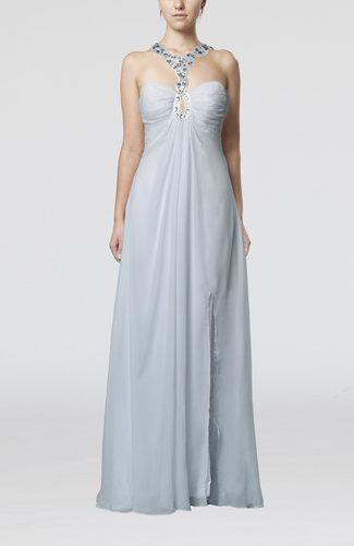 Simple Empire Backless Chiffon Floor Length Split-Front Wedding Guest Dresses