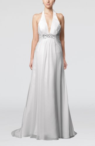 Sexy Church Empire Halter Sleeveless Buttons Sequin Bridal Gowns