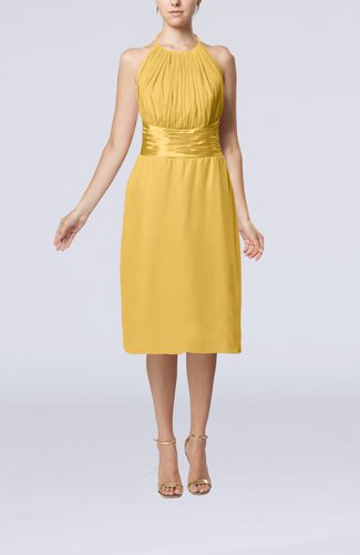 Simple Halter Backless Chiffon Knee Length Cocktail Dresses